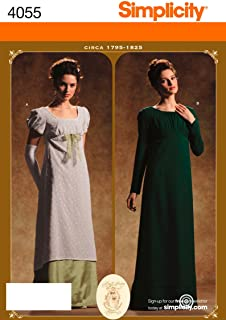 product image for Simplicity Pattern 4055 Misses Circa 1795-1825 Period Costumes Sizes 6-8-10-12