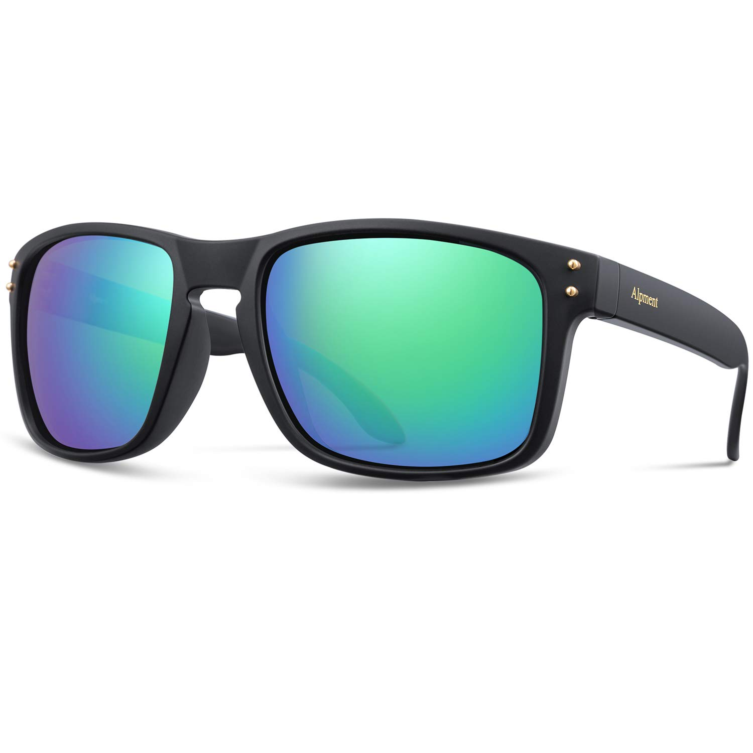 Matte Black&green Alpment HD Polarized Sunglasses Lightweight Only 22g,UV400 Predection Driving Glasses Gift Case Multiple colors Choice