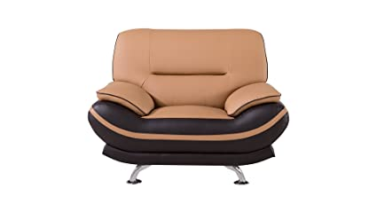 Beau American Eagle Furniture Two Toned Upholstered Faux Leather Armchair With  Added Base Support And Pillow
