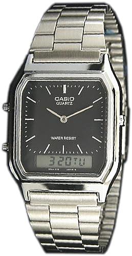 Reloj Casio Casio Vintage AQ-230 al cuarzo (batería) acero quandrante blanco correa acero: Amazon.es: Relojes