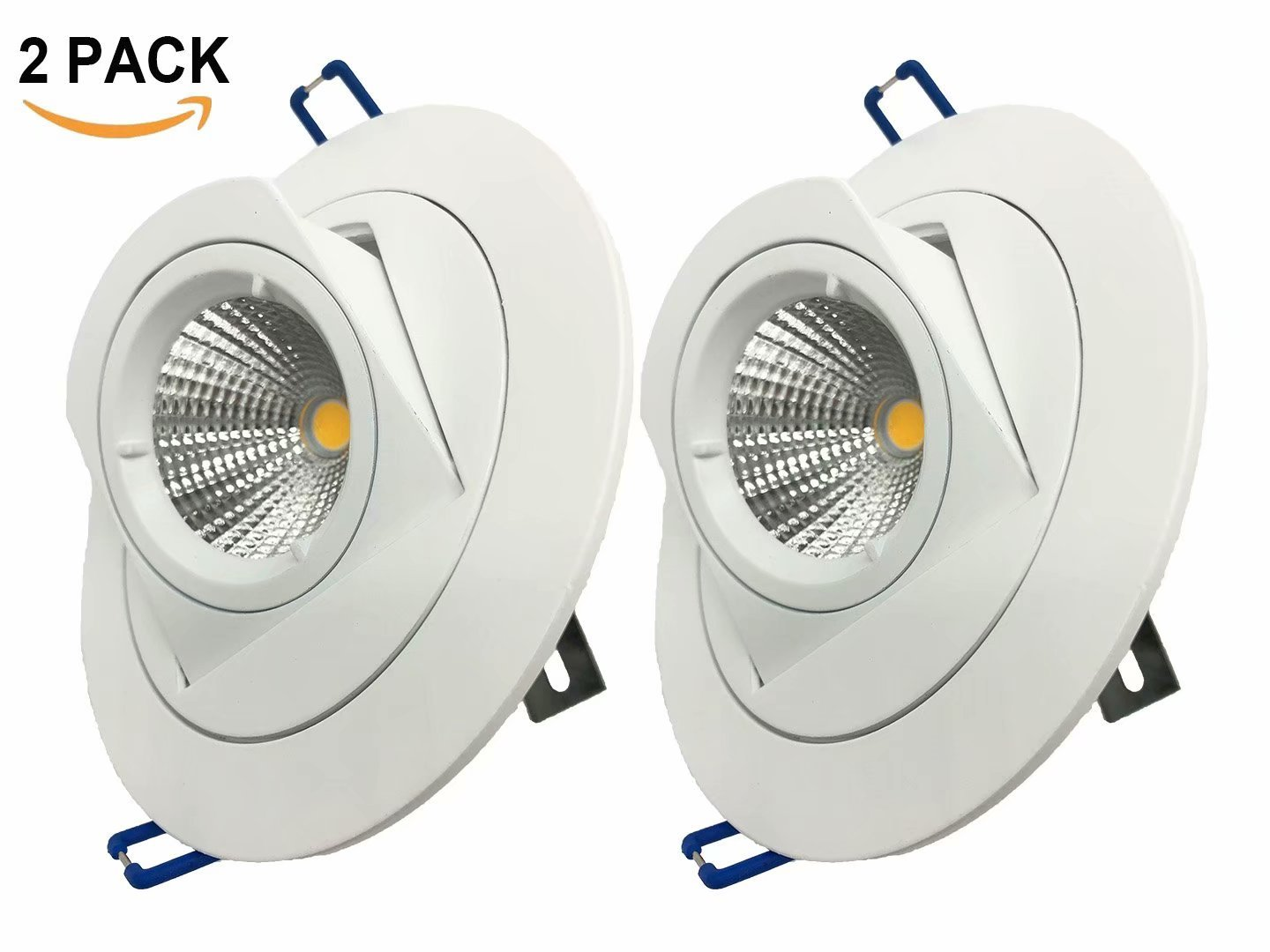 Pertop 2 Packs Downlight Resessed Adjustable,Dimmable Gimbal Recessed LED Downlight 4.25 inches,10W 3000K-3500K Soft White,980LM,Adjustable LED Retrofit Lighting Fixture, 3 YEARS WARRANTY