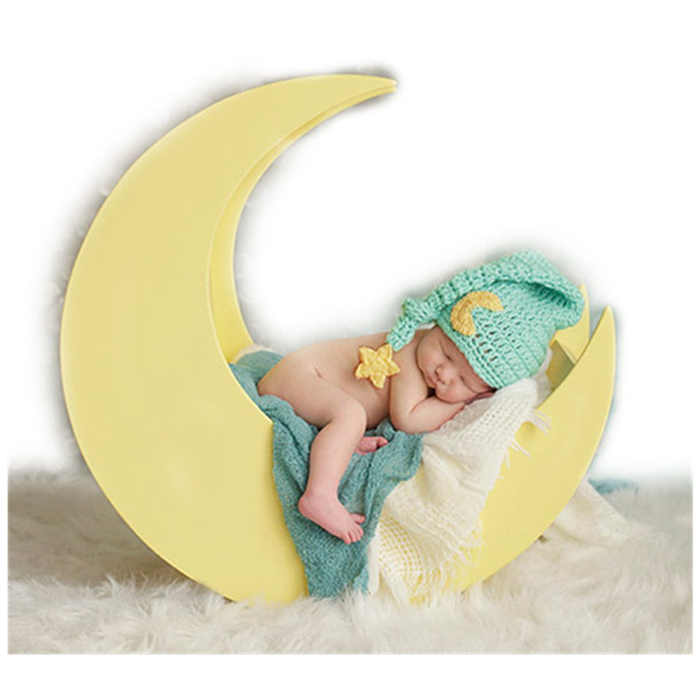 Newborn Baby Photography Props Boy Girl Photo Shoot Outfits Knitted Stars Moon Hat Coberllus