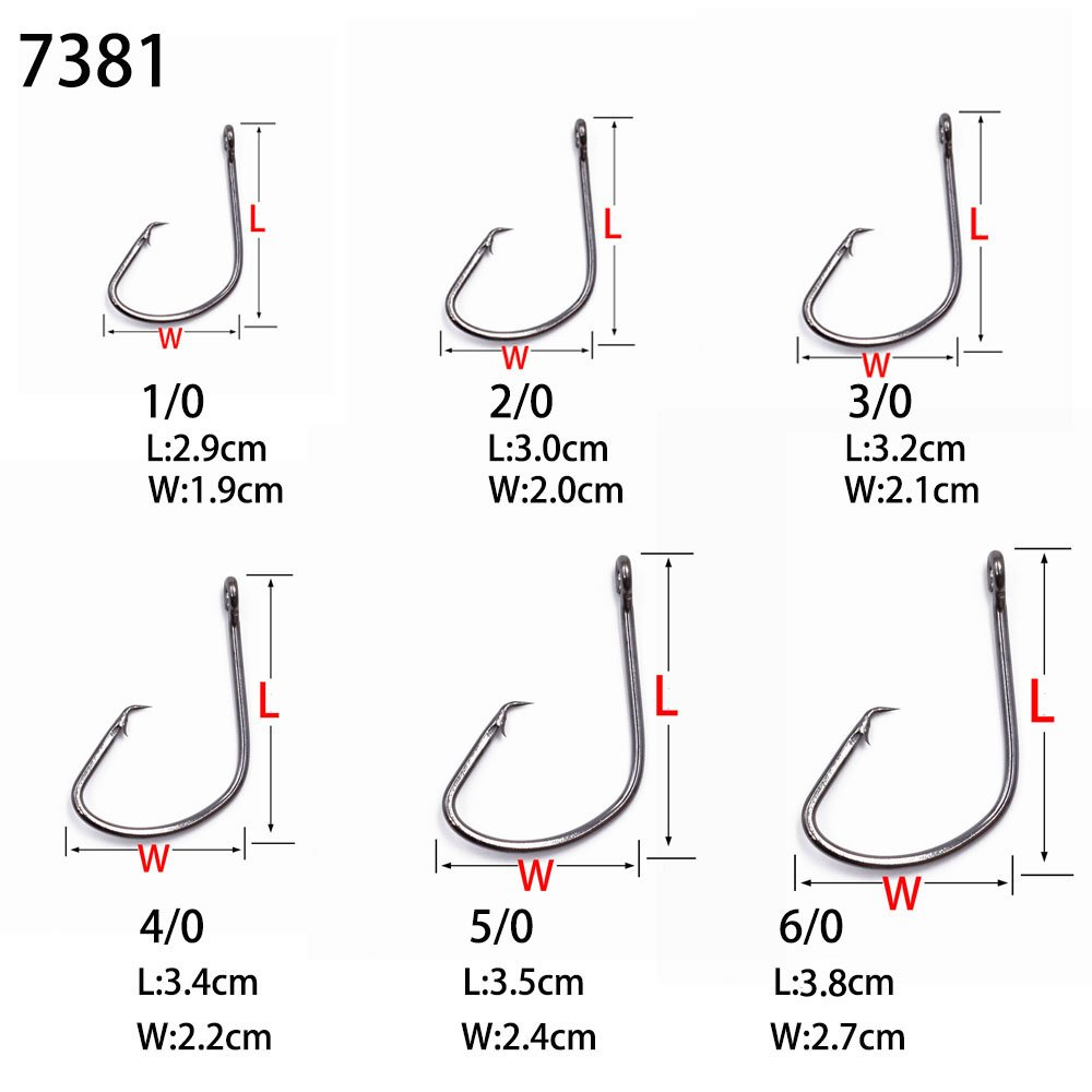 50 Size 4//0 Custom Offshore Tackle Circle Non Offset Inline Hooks 7381