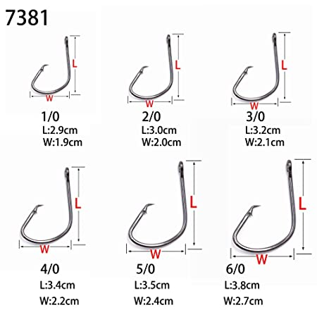 50 Size 2//0 Custom Offshore Tackle Circle Non Offset Inline Hooks