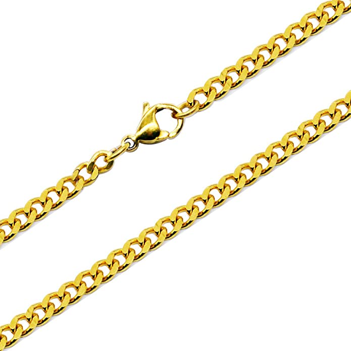 Aplstar Solid Gold Curb Chain Necklace 2mm thick 18ct Real Gold Plated Size: 16 18 20 22 24 inch/40 45 50 55 60 cm XTPcoDnh