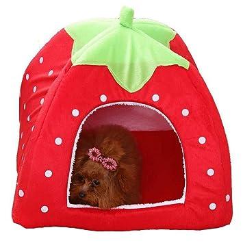 Ogquaton Perrera portátil Casa de Mascotas Forma de Fresa Perro Gato Nido Cojín Adorable Cama de Mascota Habitación para Perros pequeños y Gatos (Rojo, ...
