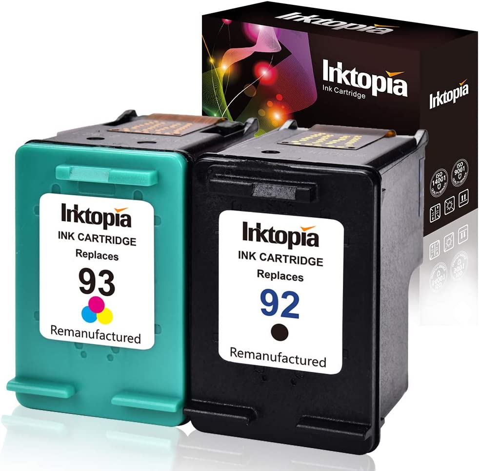 Inktopia Remanufactured Ink Cartridge Replacement for HP 92 and 93 C9513FN C9362WN C9361WN (1 Black, 1 Tri-Color) 2 Pack