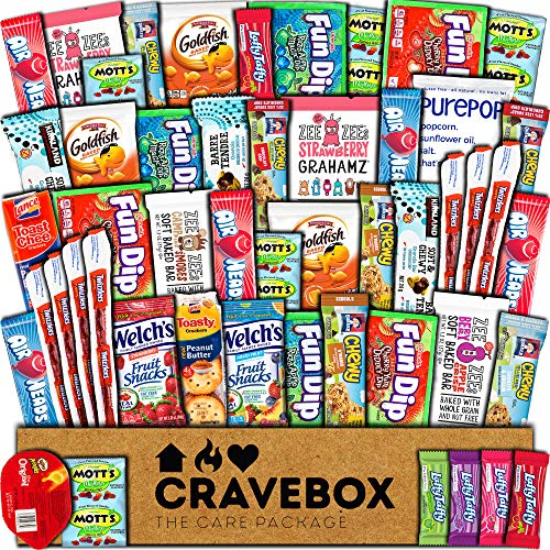 CraveBox Snacks 50 Count Ultimate Care Package Variety Box Gift Pack Assortment Basket Bundle Mixed Bulk Sampler Treats Bars Chips Candy Cookies College Finals Students Office Trips Summer Camp Boy