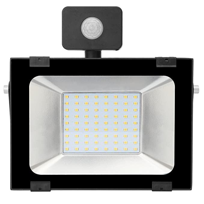 50w Foco led exterior con Sensor Movimiento ,Led Proyector para Exterior Iluminación Decoración alto brillo 5000lm IP 65 ,3000K blanco Cálido,luz led para ...