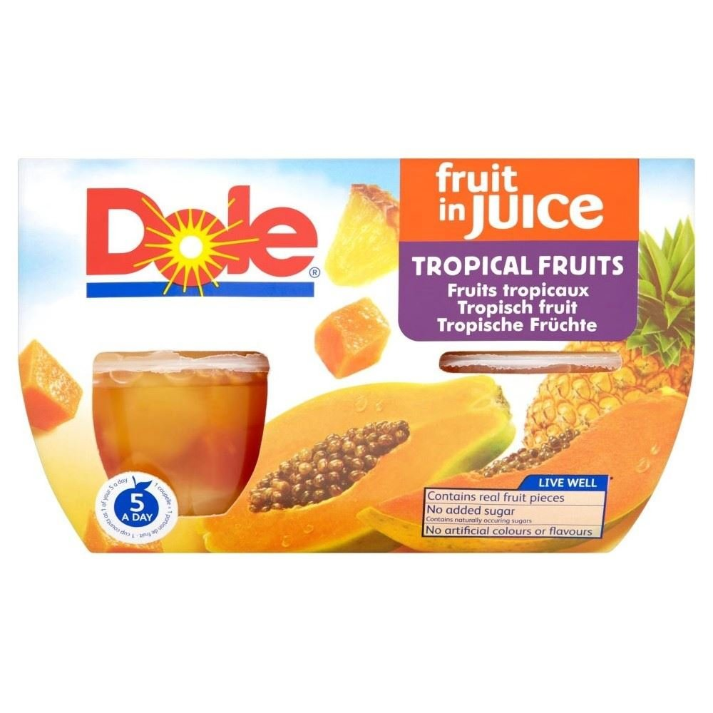 Dole Fruit Bowls Tropical Fruit in Juice (4x113g) - Pack of 2