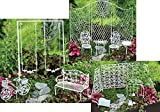 Fairy Garden Furniture Set Starter Combo Kit Bundle of 3 Sets - 1 Mini Playground with Swing, 1 Garden Tools, and 1 Furniture Set Chairs Table