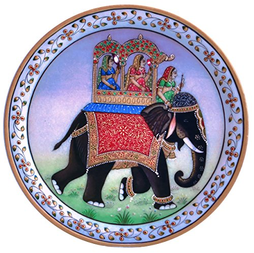 (HandicraftStore Elegant Miniature Decorative painting of elephant on marble plate round, A perfect home decore item )