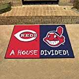 """Cincinnati Reds - Cleveland Indians House Divided Rugs 34""""""""x45"""""""""""