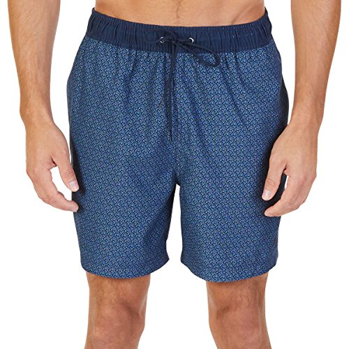 Nautica Men's Quick Dry Swim Trunk Assorted Prints (True Navy New, (Nautica Trunk)
