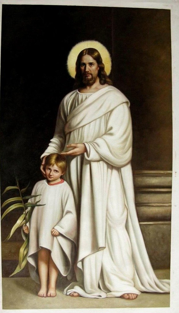 Roya Art-Christ and A Boy by Carl Heinrich Bloch Hand Painted Classical Christian High quality Art Reproductions Oil Painting On Canvas For Home/Office Decoration, Size 24''wide x 36''high by Roya Art