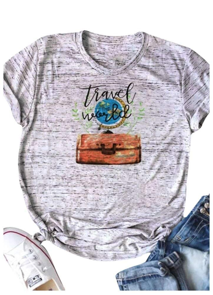 Colifas Womens Travel The World Tshirt Funny T Shirt Striped Short Sleeve Tee Shirts for Juniors S