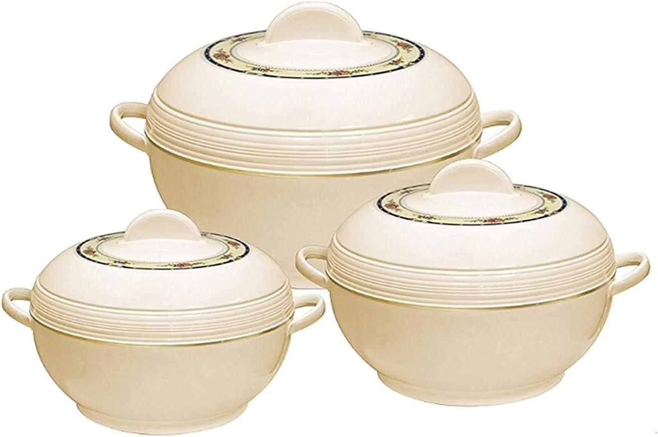 Tmvel Ambient Insulated Casserole Hot Pot Hot Pack Food Warmer 3 Pieces Set, 1.6 L, 2.5 L, 3.5 L (Beige)