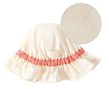 Amazon.com  Summer Hat 0-6 Months Newborn Baby Sun Hat No Chin Strap Bucket  Hat Sunbonnet White  51  Baby e2a35838b11