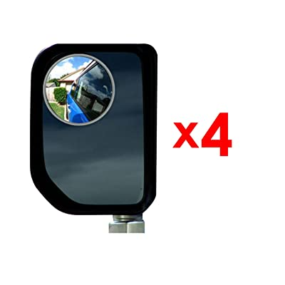 4 Pack 3 Inch Blind Spot Mirrors for Trucks, SUV's, Trailers, Larger Vehicles - Rust Resistant Aluminum - Real Glass Rear View Blind Mirrors Oval Convex and Self Stick - [Bundle 4 Pieces]: Automotive
