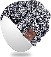 Qshell Wireless Bluetooth Beanie Hut Mütze mit Musikphone Speakerphone Stereo Kopfhörer Headset Kopfhörer Lautsprecher Mic für Fitness Outdoor Sport Skifahren Running Skating Walking, Weihnachtsgeschenke