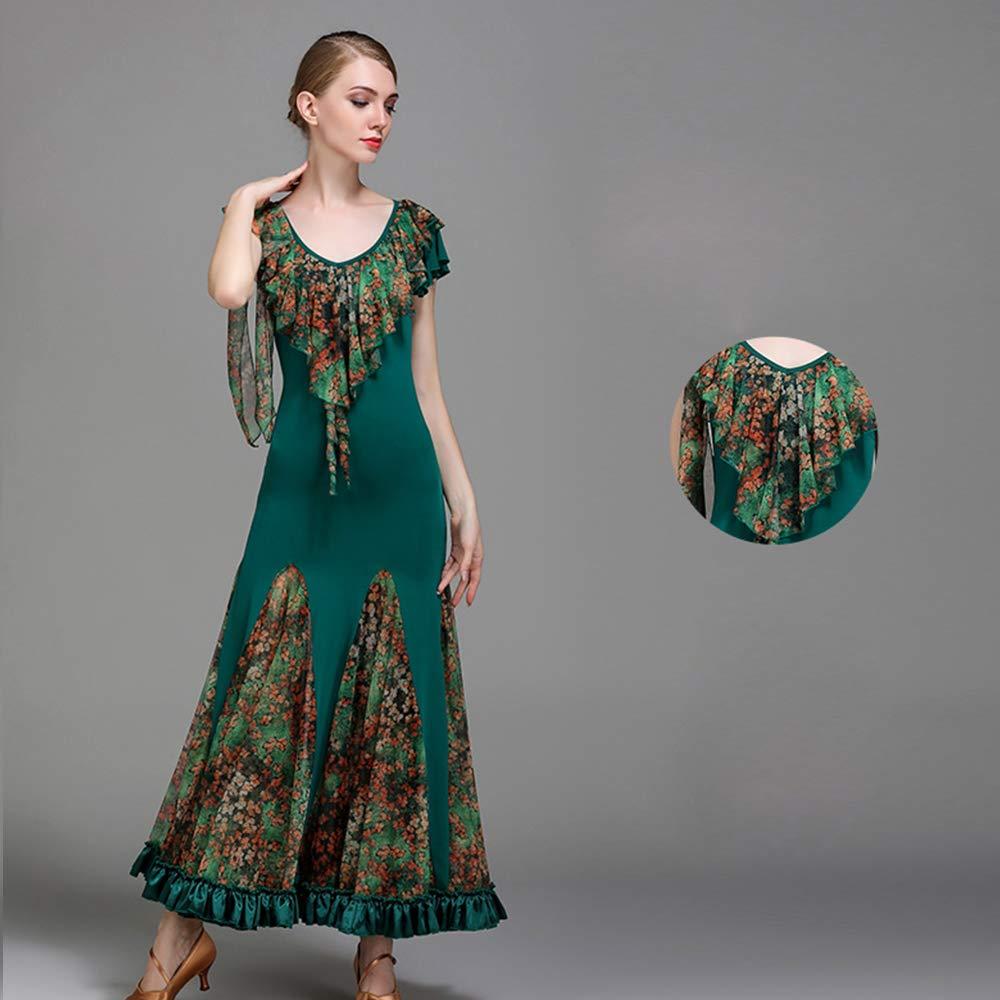 現代の女性の大きな振り子の氷のシルクの社交ダンスのドレスモダンなダンスドレスタンゴとワルツダンスドレスダンスコンペティションスカートドレス半袖ネット糸ダンスコスチューム B07HKNPN3L Small|Green Green Small