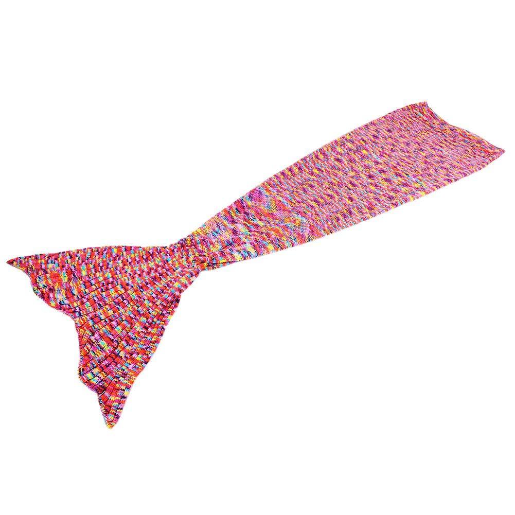 Mermaid Tail Blanket, Handmade Soft Crochet Mermaid Blankets Blue Knitted Pattern Seasons Sleeping Blankets Adult (Colorful)