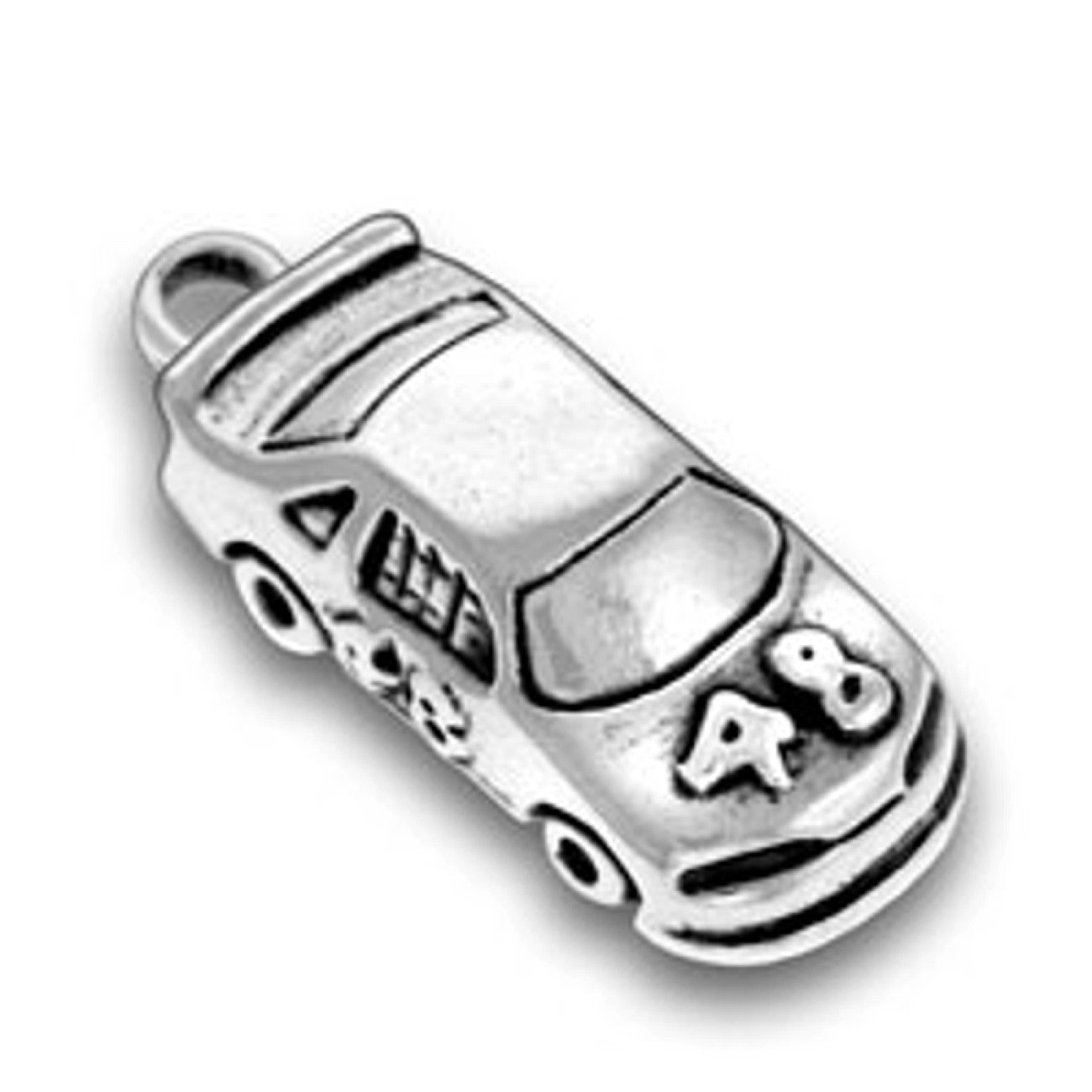 Sterling Silver Girls .8mm Box Chain 3D Jimmie Johnson #48 Nascar Race Car Pendant Necklace