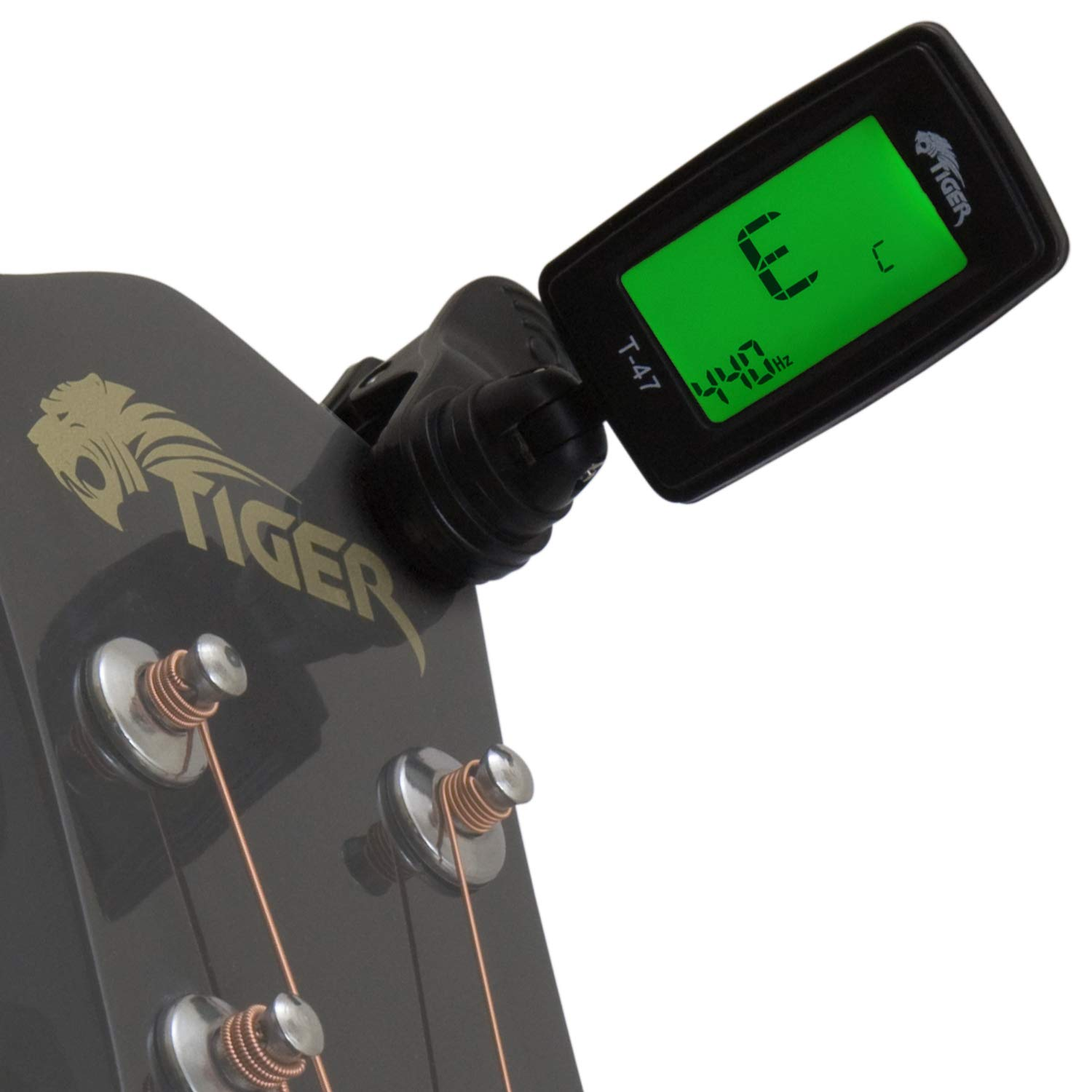 Tiger Clip-On Guitar Tuner - Chromatic Tuner for Guitar, Ukulele and Violin Tiger Music T-47