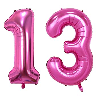 Langxun 40inch Pink Number 13 Foil Balloons For 13th Birthday Party Supplies And Decorations