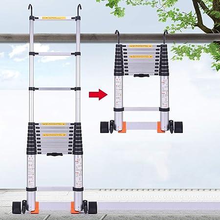 Escaleras Telescópicas Multifunción Escalera telescópica plegable con gancho y barra estabilizadora, Escalera de extensión de ingeniería de aluminio multiusos, para patio exterior tipo loft, soporte d: Amazon.es: Hogar