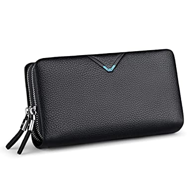 0c92a80c08a WilliamPOLO Mens Wallet Genuine Leather Strap Clutch Bag with Double Zipper Mens  Handbag (Black)