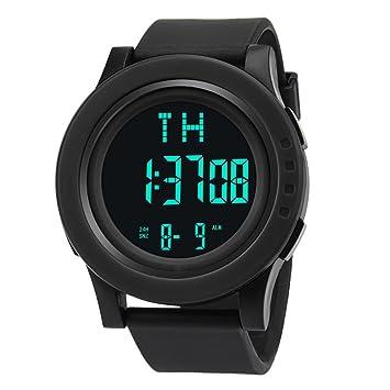 STRIR Reloj digital impermeable, Reloj LED digital deportivo Fecha de alarma Reloj impermeable con banda elástica (Negro): Amazon.es: Deportes y aire libre