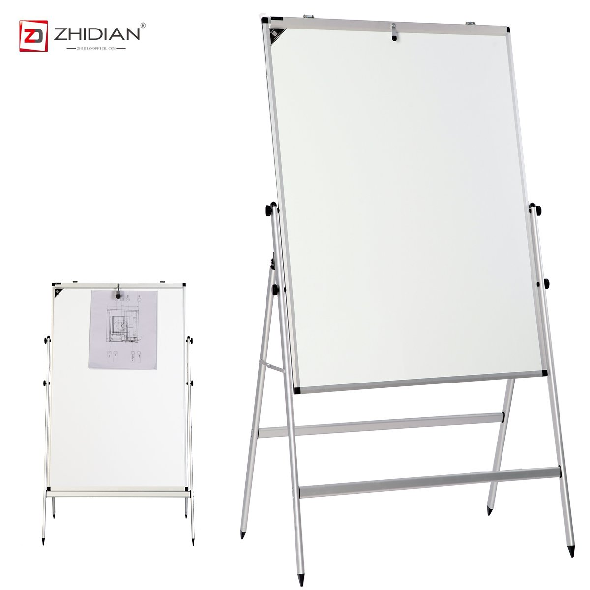 ZHIDIAN Folding Slide Rail Height Adjustment Aluminum Alloy Magnetic Dry Erase Board Easel, Bulletin Board White Boards, Silver Frame (36Hx24W Inches, Erect type)