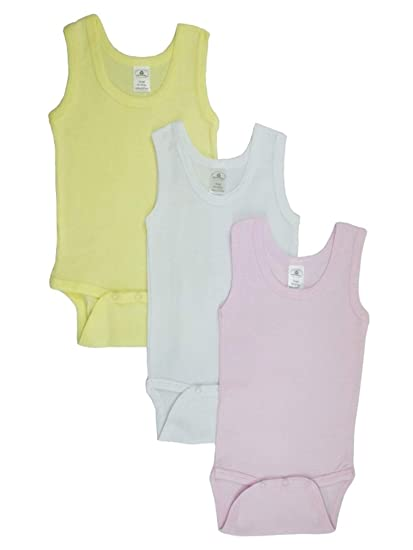 a6e965383 Baby Girl's Pink White Yellow Rib Knit Pastel Sleeveless Tank Top Onesie  3-Pack