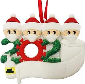 MAGICMK 2020 Christmas Ornaments Quarantine Survival Family Christmas Decoration Personalized Custom Name DIY Creative Gift Christmas Tree Ornament (4 People-White)