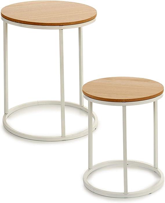 TU TENDENCIA UNICA Juego de Dos mesas con Patas metálicas y sobre de MDF Color Natural. Funcional y estética como Mesa Auxiliar, con Posibilidad de apilarlas. Medidas: 35 x 35 x 41