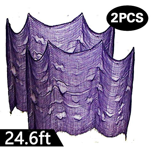 Powerful 2PCS Super Size in Halloween Creepy Gray Black Purple White Cloth for Houese and Outdoor Party Supplies & Decorations (2 X 8.2 yd(25ft) X 80 in, Purple)]()