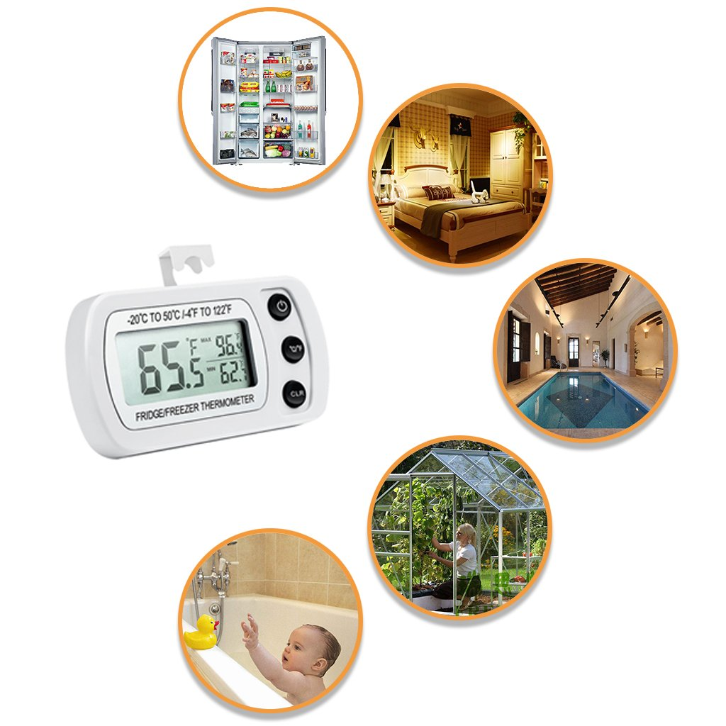 Waterproof Digital Refrigerator Thermometer, Freezer Room Thermometer, LCD Display, ℃/℉ Switch + Max/Min Record, for Kitchen, Home, Restaurants, Bars, Cafes (Battery Included) 6 Pack (6 Pcs)