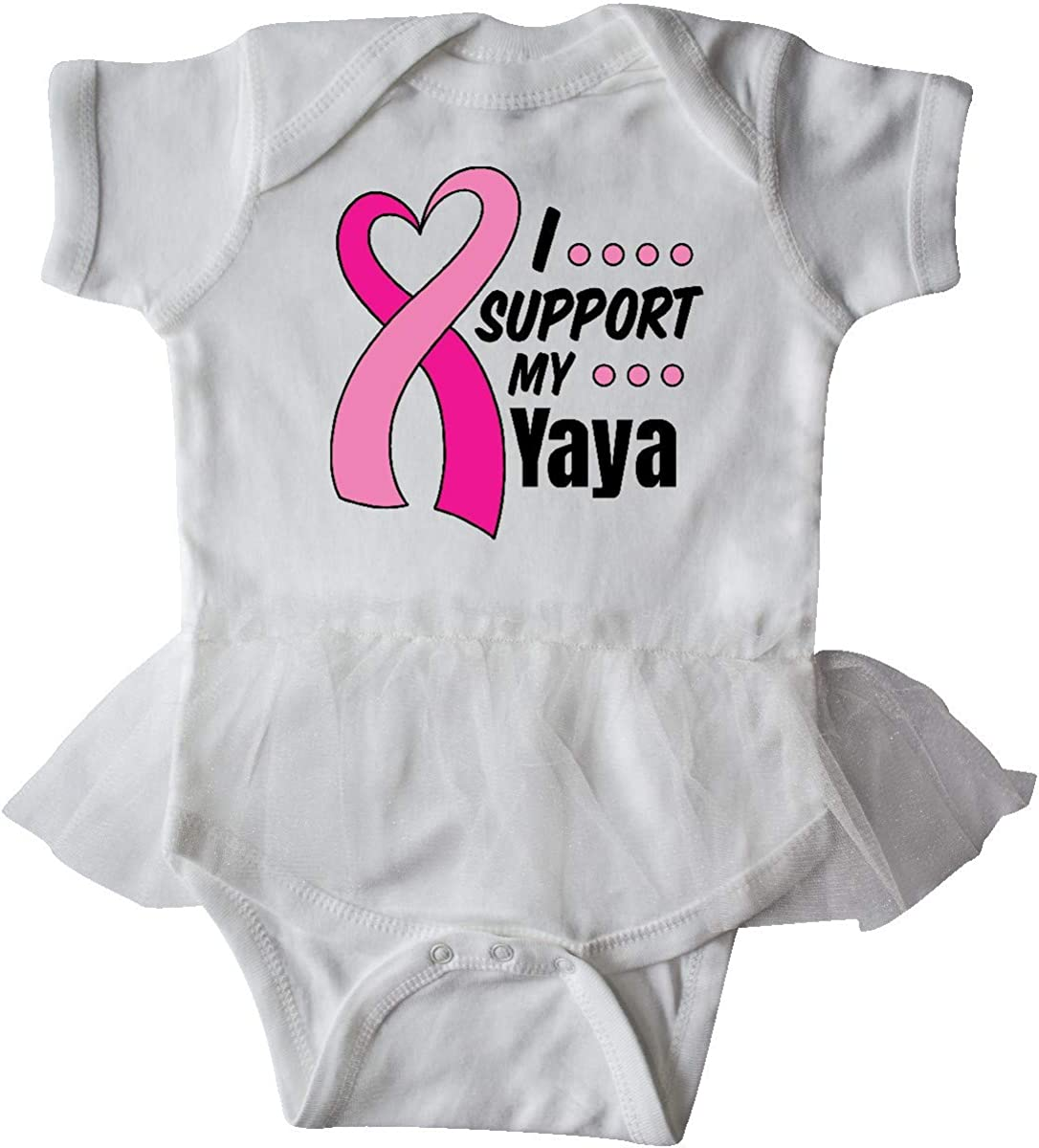 inktastic Breast Cancer Awareness I Support My Yaya with Infant Tutu Bodysuit