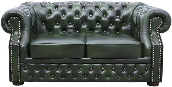 Casa Padrino Genuine Leather 3 Seater Sofa Dark Green 180 x