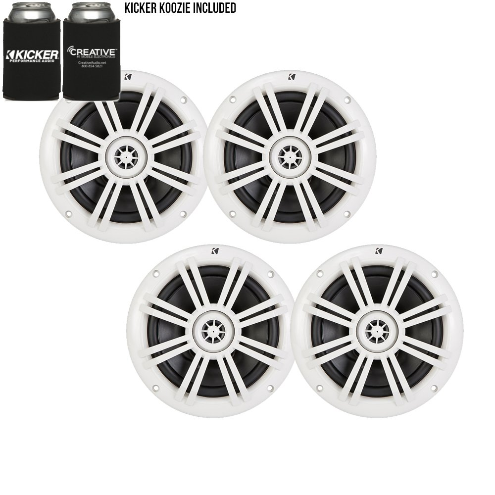 Kicker White OEM Replacement Marine 6.5'' 4Ω Coaxial speaker Bundle - 4 Speakers