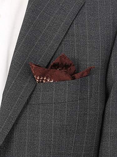 (ザ・スーツカンパニー) MADE IN ITALY/ハウンドトゥース柄シルクポケットチーフ ブラウン×ベージュ