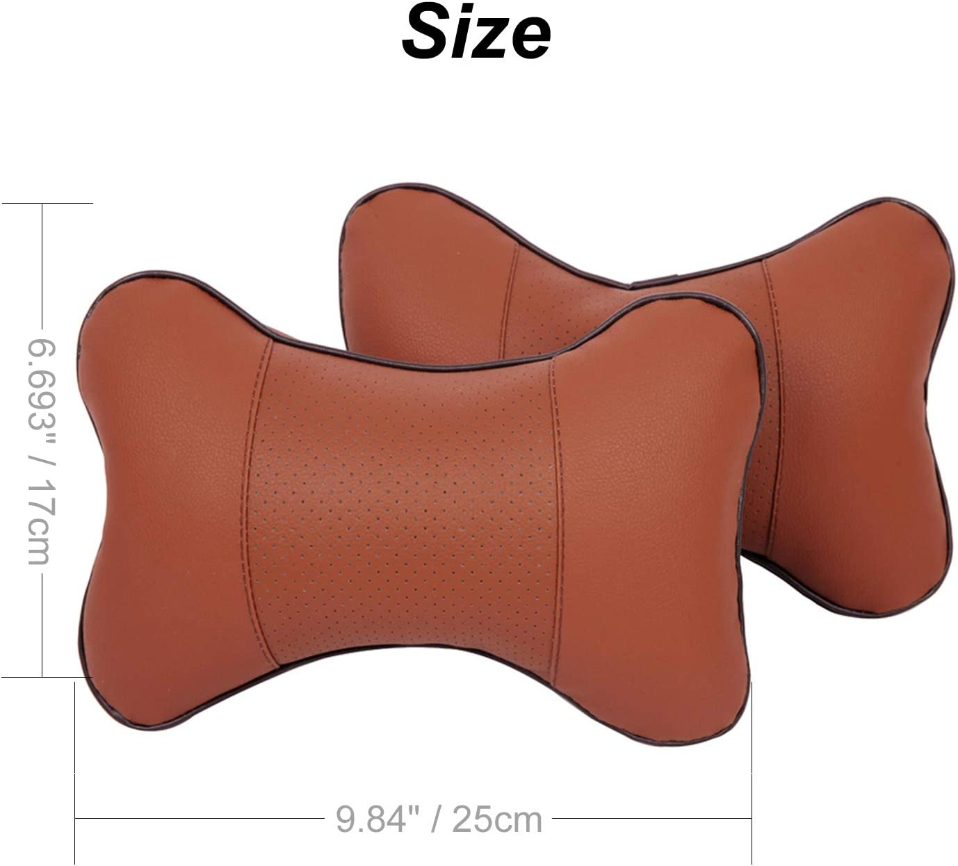 Black BuilLLin Car Neck Pillow 2 Pieces PU Leather Travel Pillow for Head Rest Neck Support for Car Seat owl