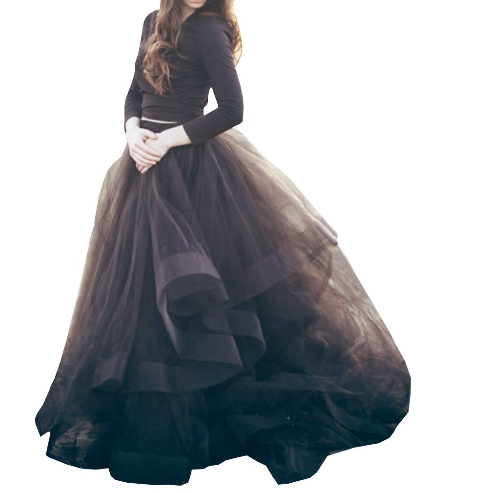 Wedding Planning Tulle Organza Ball Gown Layers Pleated Skirt Size 2 US Black
