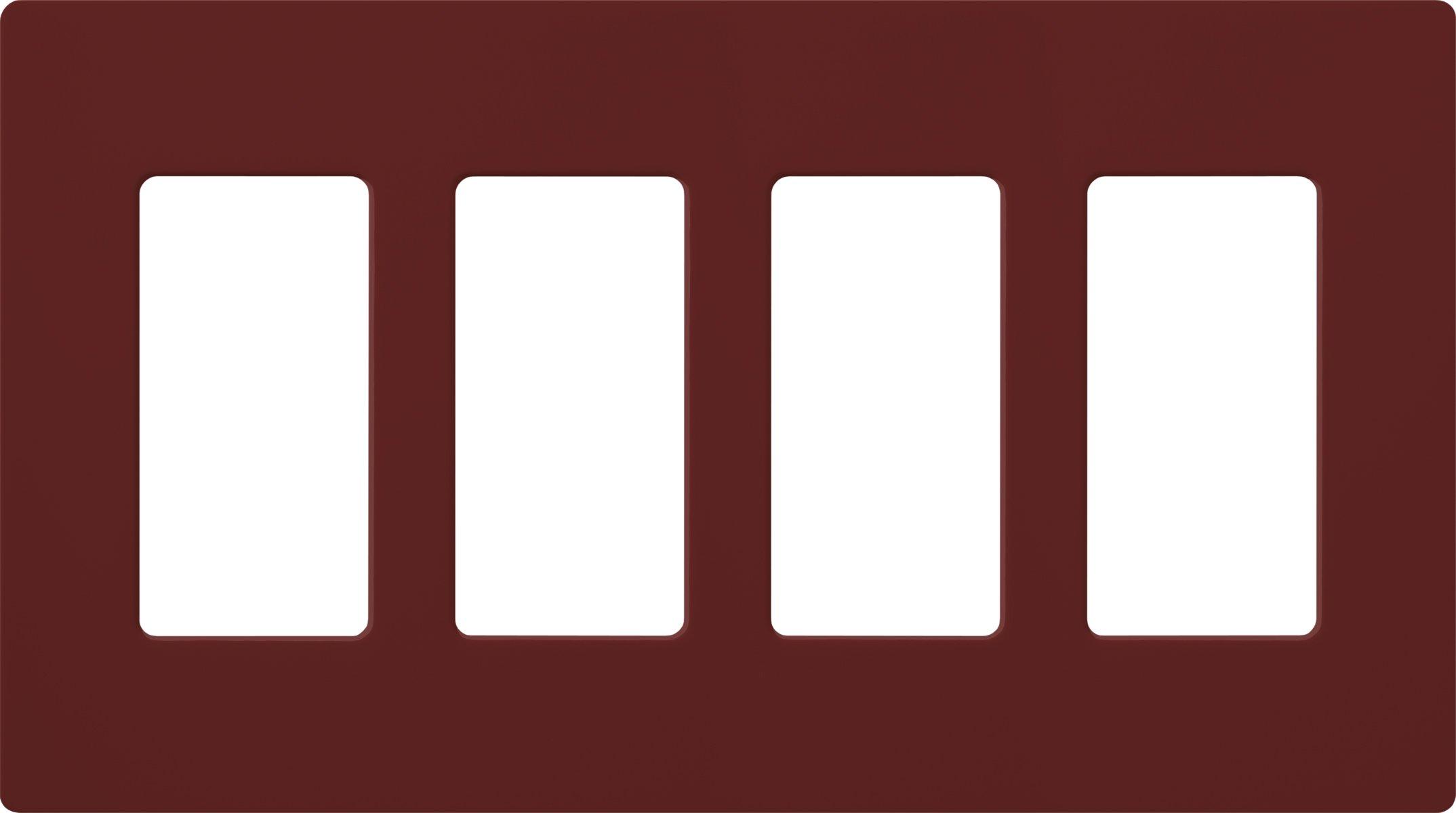 Lutron SC-4-MR Satin Colors 4-Gang Wallplate, Merlot