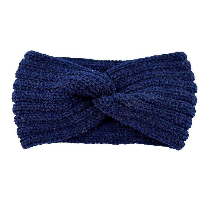6b5e3662b7257b Igemy Frauen Gestrickte Stirnband Häkeln Winter Wärmer Dame Haarband  Headwrap (Navy): Amazon.de: Bekleidung