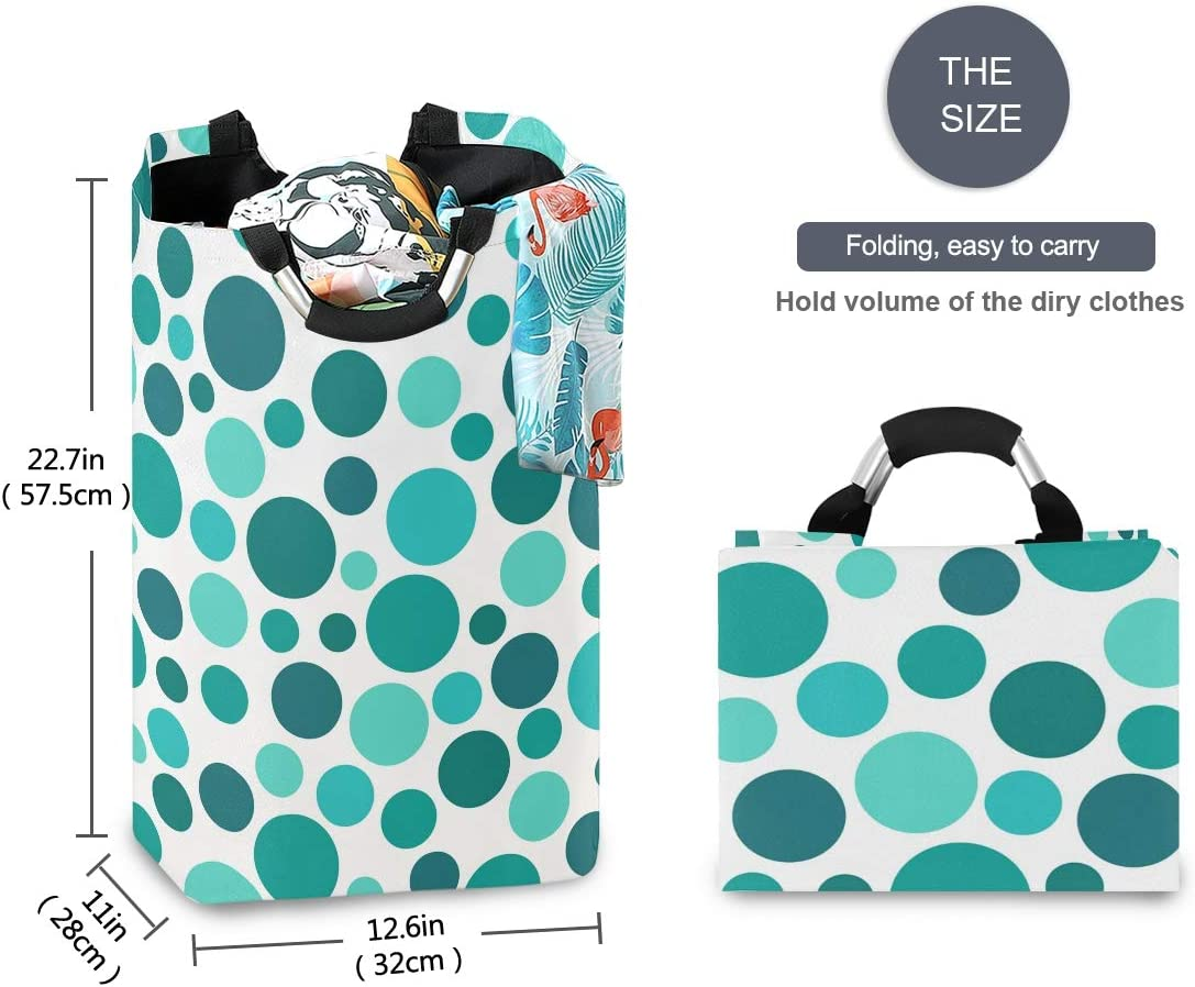 OREZI Teal Polka Dot Waterproof Foldable Laundry Basket Dirty Clothes Hamper Bag in Bedroom Bathroom,Storage Basket for Toys
