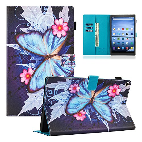 Dteck Case for All-New Amazon Fire HD 10 Tablet (7th Generation, 2017 Release) - Slim Fit PU Leather Folio Stand Smart Cover with Auto Wake/ Sleep for Fire HD 10.1 inch, Blue Butterfly