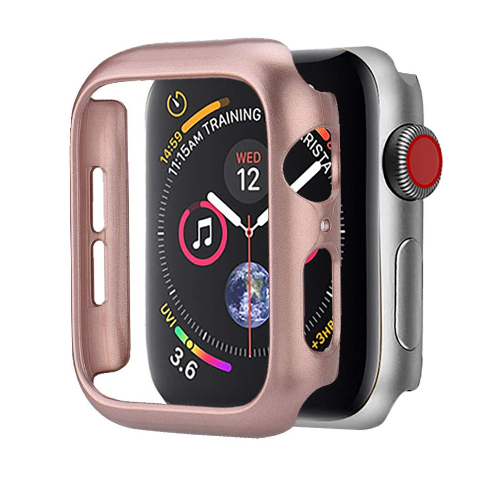 Compatible Apple Watch Series 4 Bumper 40mm 44mm Built-in Screen Protector iWatch Ultra Thin PC Spraying Case Protective Case Cover Bumper Compatible Apple Watch 4 Series 4 40mm 44mm (44mm, Rose Gold)