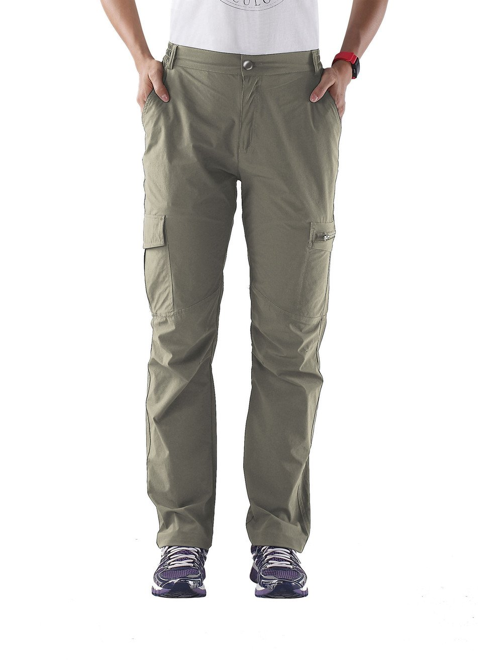 Nonwe Women's Quick Dry Breathable Hiking Camping Cargo Trousers Khaki XXL/30.5'' Inseam